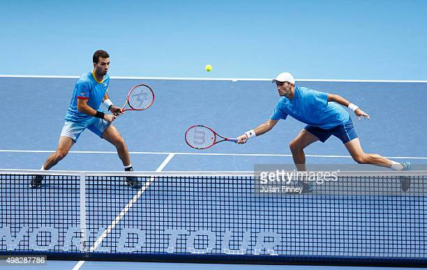 JeanJulien Rojer of France and Horia Tecau of Romania in action during the men's doubles final against Rohan Bopanna of India and Florin Mergea of...