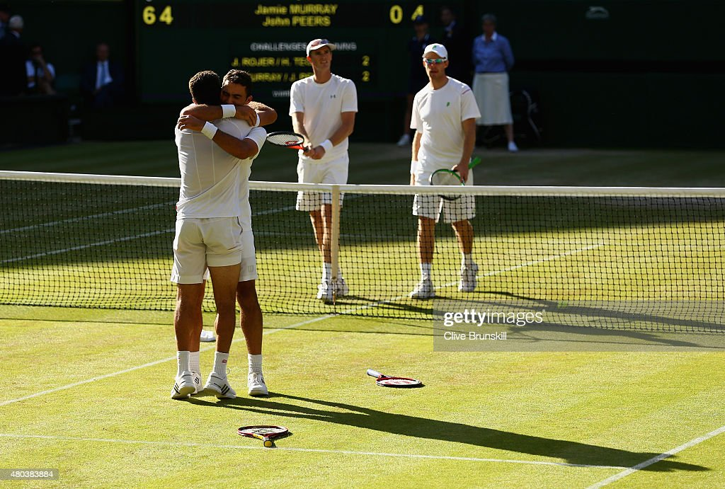 Jean-Julien Rojer of Netherlands and Horia Tecau of Romania celebrate after winning the Final Of The Gentlemen's Doubles against John Peers of Australia and Jamie Murray of Great Britain during day twelve of the Wimbledon Lawn Tennis Championships at the All England Lawn Tennis and Croquet Club on July 11, 2015 in London, England.