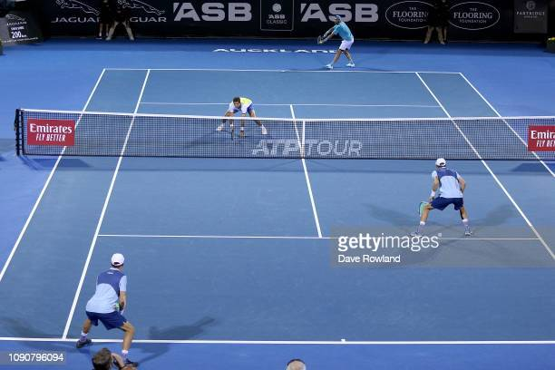 JeanJulien Rojer of The Netherlands and Horia Tecau of Romania play in their doubles match against Bob and Mike Bryan of United States during the ASB...
