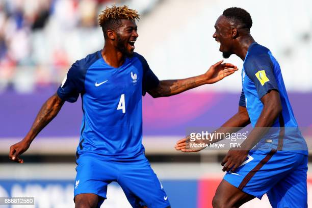 JeanKevin Augustin of France celebrates with Jerome Onguene after scoring a goal during the FIFA U20 World Cup Korea Republic 2017 group E match...