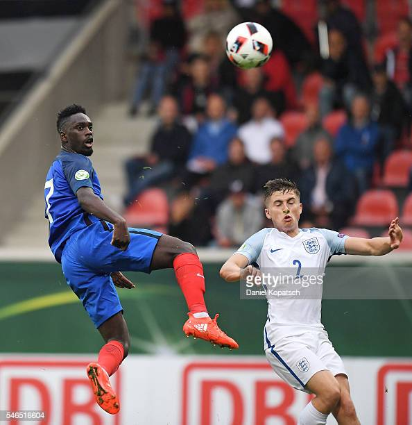 JeanKevin Augustin of France scores his team's first goal during the UEFA Under19 European Championship match between U19 France and U19 England at...