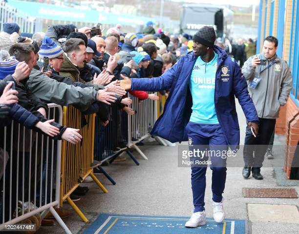 Jeankevin Augustin of Leeds United arrives ahead of the Sky Bet Championship match between Leeds United and Reading at Elland Road on February 22...