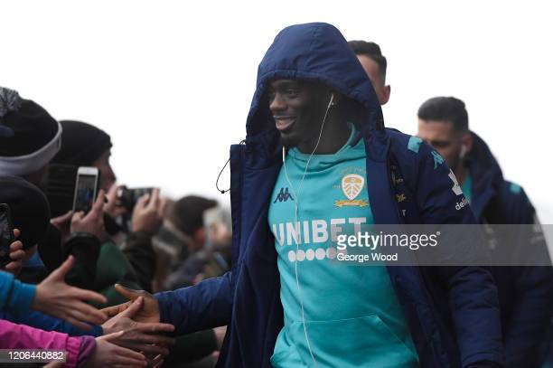 JeanKevin Augustin of Leeds United arrives at the stadium prior to the Sky Bet Championship match between Leeds United and Bristol City at Elland...