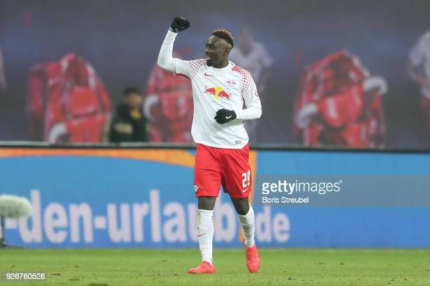 JeanKevin Augustin of Leipzig celebrates after he scored a goal to make it 10 during the Bundesliga match between RB Leipzig and Borussia Dortmund at...