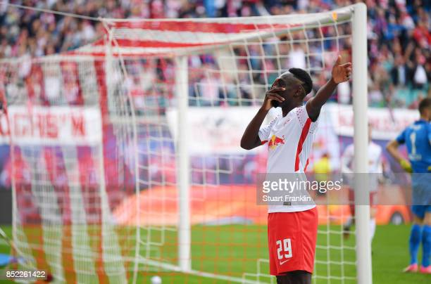 JeanKevin Augustin of Leipzig celebrates after he scored his team first goal to make it 10 during the Bundesliga match between RB Leipzig and...
