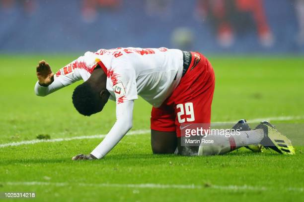 JeanKevin Augustin of Leipzig reacts during the UEFA Europa League Qualifying PlayOff second leg match between RB Leipzig and Zorya Luhansk at Red...