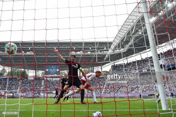 JeanKevin Augustin of Leipzig scores his teams first goal to make it 10 during the Bundesliga match between RB Leipzig and Eintracht Frankfurt at Red...
