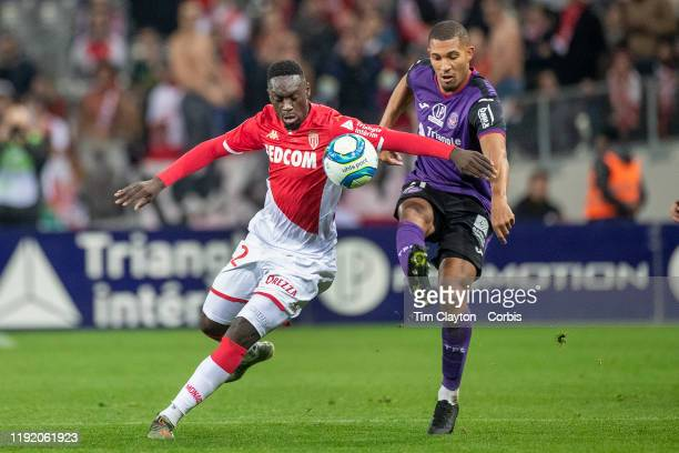 JeanKevin Augustin of Monaco defended by William Vainqueur of Toulouse during the Toulouse FC V AS Monaco French Ligue 1 regular season match at the...