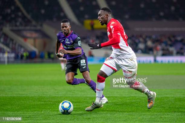 JeanKevin Augustin of Monaco in action during the Toulouse FC V AS Monaco French Ligue 1 regular season match at the Stadium Municipal de Toulouse on...
