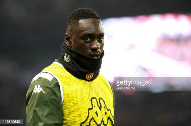 JeanKevin Augustin of Monaco warms up during the Ligue 1 match between Paris SaintGermain and AS Monaco at Parc des Princes stadium on January 12...