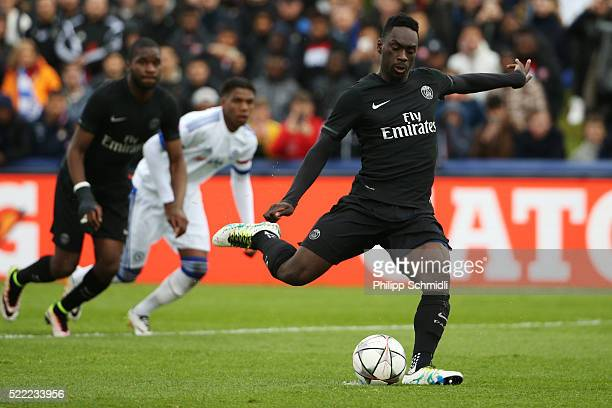 JeanKevin Augustin of Paris Saint Germain misses a chance at goal from the penalty spot during the UEFA Youth League Final match between Paris Saint...
