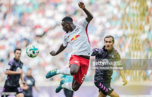 JeanKevin Augustin of RB Leipzig controls the ball during the Bundesliga match between RB Leipzig and SportClub Freiburg at Red Bull Arena on August...