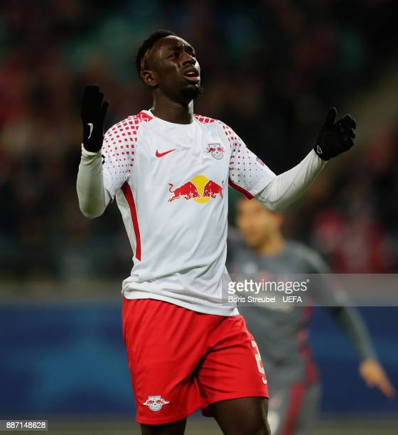 JeanKevin Augustin of RB Leipzig reacts during the UEFA Champions League group G match between RB Leipzig and Besiktas at Red Bull Arena on December...