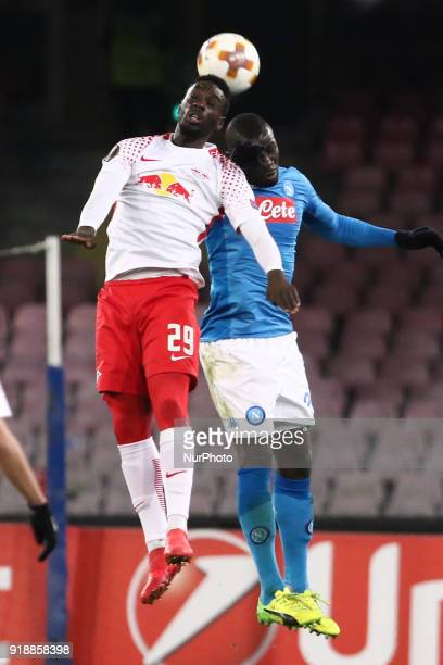 JeanKvin Augustin AND Kalidou Koulibaly during the Europe Ligue football SSC Napoli v RB Leipzing at S Paolo Stadium in Naples on February 15 2018