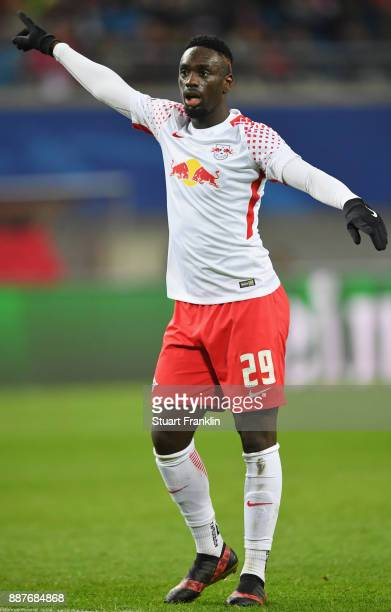 JeanKévin Augustin of Leipzig gestures during the UEFA Champions League group G match between RB Leipzig and Besiktas at Red Bull Arena on December 6...