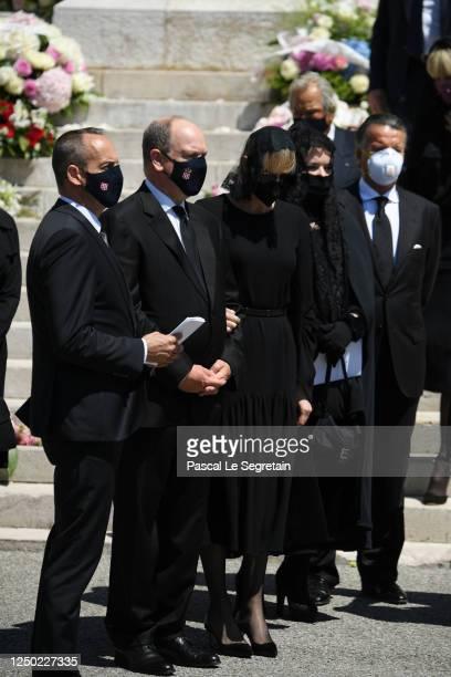 JeanLeonard Taubert de Massy Prince Albert II of Monaco Princess Charlene of Monaco Melanie Antoinette de Massy and Christian de Massy leave the...