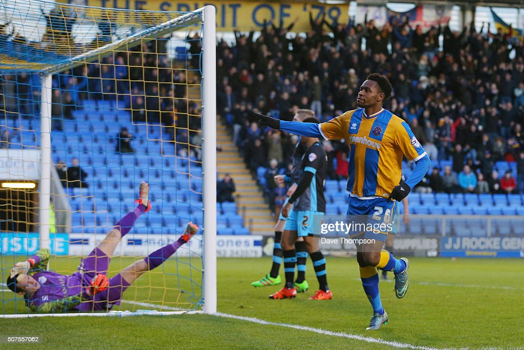 Jean-Louis Akpa Akpro of Shrewsbury Town celebrates scoring his team's first goal during the Emirates FA Cup Fourth Round match between Shrewsbury Town and Sheffield Wednesday at Greenhous Meadow on January 30, 2016 in Shrewsbury, England.