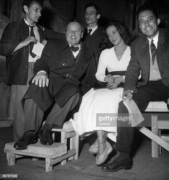 JeanLouis Barrault comedian Arthur Honegger composer Balthus decorator Maria Casares comedienne and Albert Camus author from left to right during a...