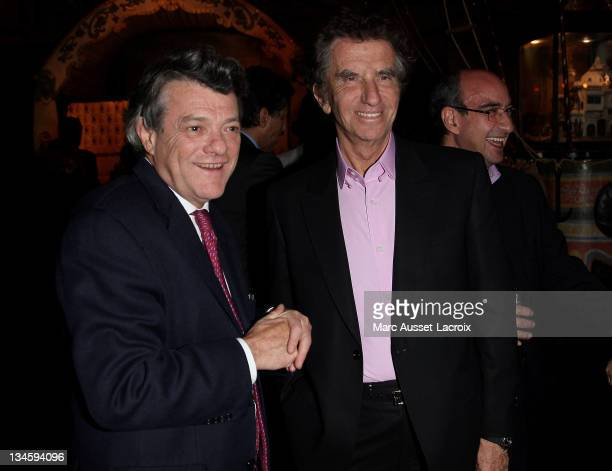 JeanLouis Borloo and Jack Lang attend the 'SOS Racisme' Hosts Dinner For Its Godmothers And Godfathers at Musee des Arts Forains on March 28 2011 in...