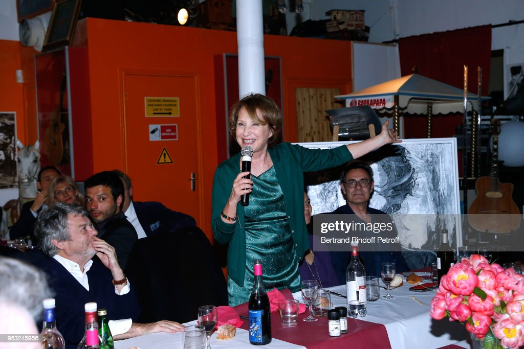 Jean-Louis Borloo and Nathalie Baye attend the Dinner in honor of Nathalie Baye at La Chope des Puces on April 30, 2018 in Saint-Ouen, France.