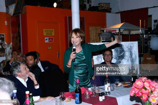 JeanLouis Borloo and Nathalie Baye attend the Dinner in honor of Nathalie Baye at La Chope des Puces on April 30 2018 in SaintOuen France