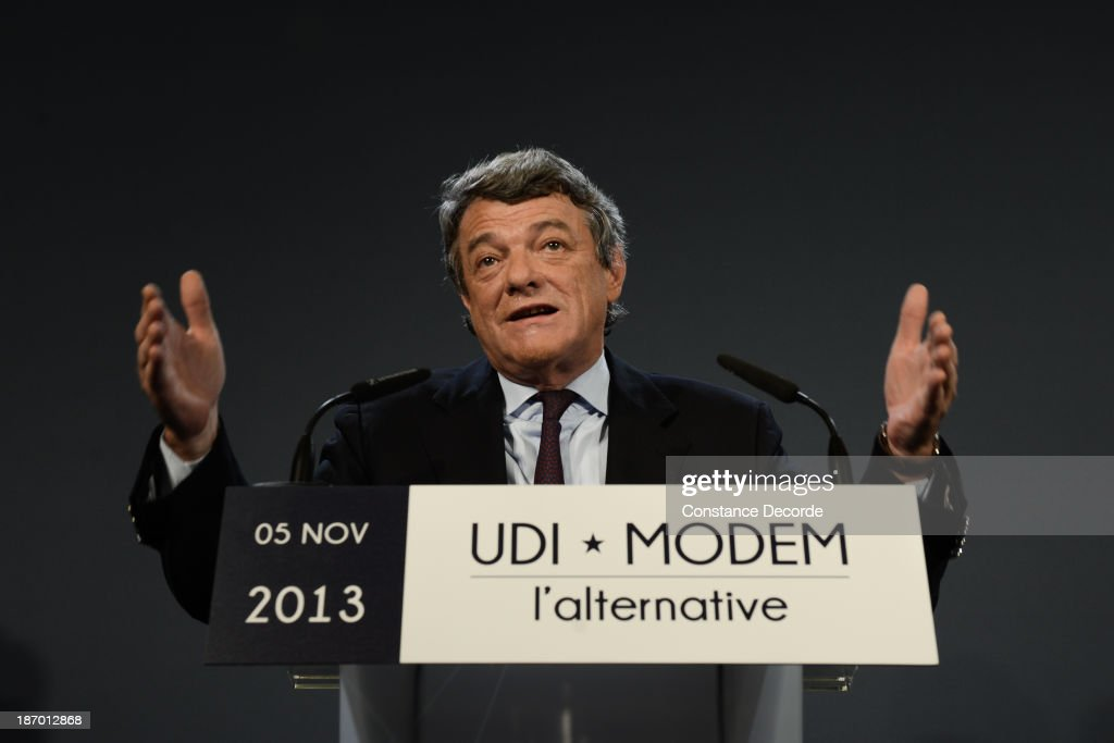 Jean-Louis Borloo speaking at the Modem-UDI common press conference at Maison de La Chimie on November 5, 2013 in Paris, France.