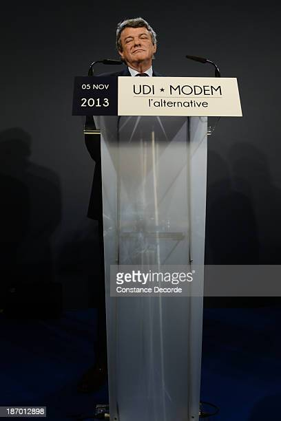 JeanLouis Borloo speaking at the ModemUDI common press conference at Maison de La Chimie on November 5 2013 in Paris France