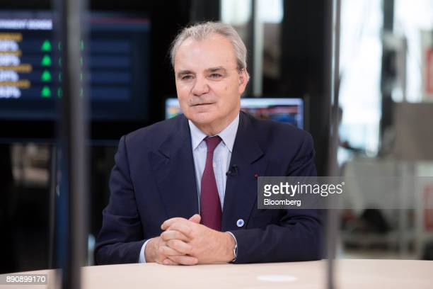 JeanLouis Chaussade chief executive officer of Suez SA pauses during a Bloomberg Television interview at the One Planet Summit in Paris France on...