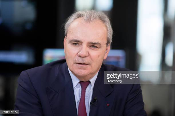 JeanLouis Chaussade chief executive officer of Suez SA speaks during a Bloomberg Television interview at the One Planet Summit in Paris France on...