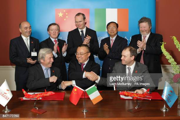 JeanLouis Chevrot CEO Dragon Aviation Leasing John Perry Minister of State for Small Business Simon Coveney Minister of Agriculture Wan Jifei...