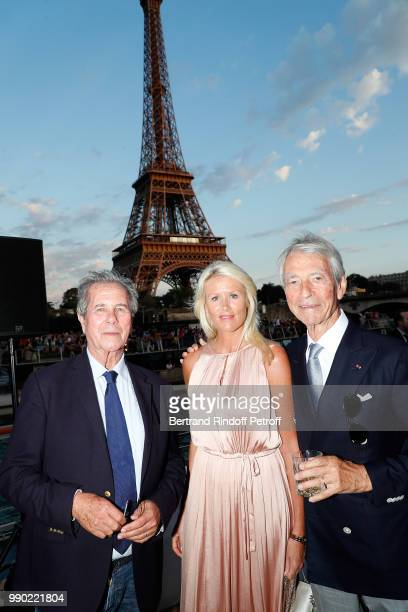 JeanLouis Debre Alice Bertheaume and JeanClaude Narcy attend Line Renaud's 90th Anniversary on July 2 2018 in Paris France