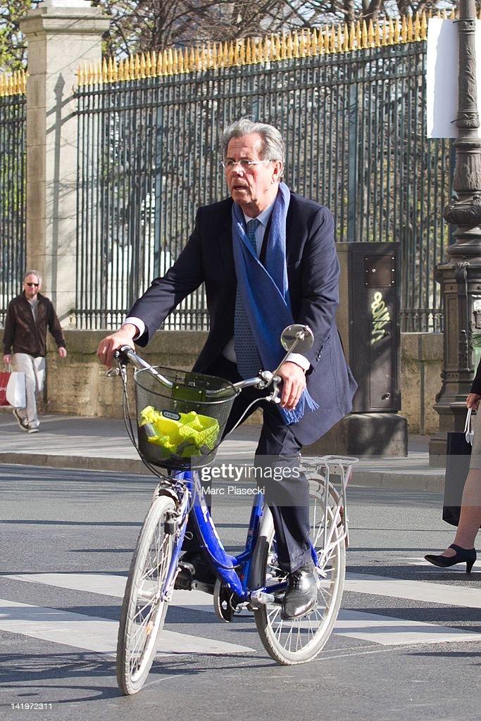 Jean-Louis Debre is sighted on Rue de Rivoli on March 27, 2012 in Paris, France.