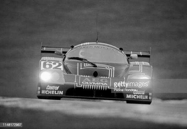 Jean-Louis Schlesser of France drives the Team Sauber Mercedes C9 during the FIA World Sportscar Prototype Championship 1000 km of Brands Hatch on...