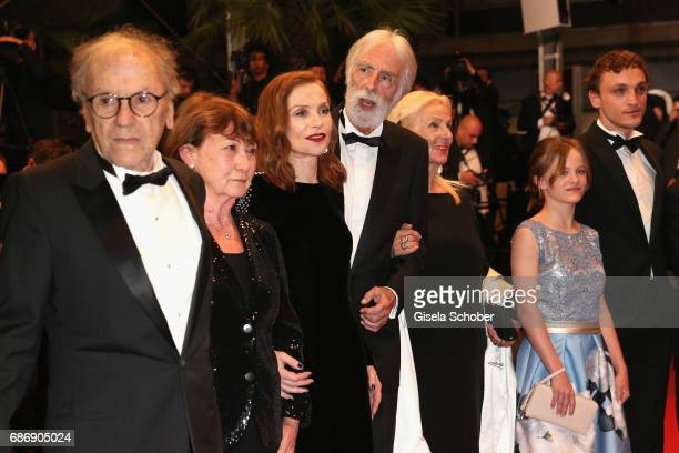 "Jean-Louis Trintignant, Marianne Hoepfner, Isabelle Huppert, Michael Haneke, Susi Haneke, Fantine Harduin and Franz Rogowski attend the ""Happy End""..."