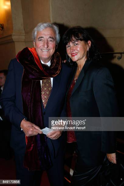 "Jean-Loup Dabadie and his wife Veronique Bachet attend ""La vraie vie"" Theater Play at Theatre Edouard VII on September 18, 2017 in Paris, France."