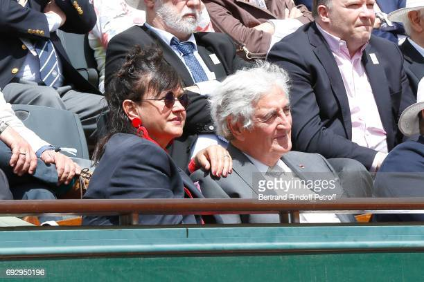 Jean-Loup Dabadie and his wife Veronique Bachet attend the 2017 French Tennis Open - Day Ten at Roland Garros on June 6, 2017 in Paris, France.