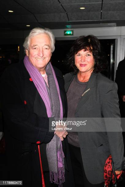 "Jean-Loup Dabadie and his wife Véronique Bachet attend the ""Et Pof"" Muriel Robin One Woman Show At Palais Des Sports on October 03, 2019 in Paris,..."