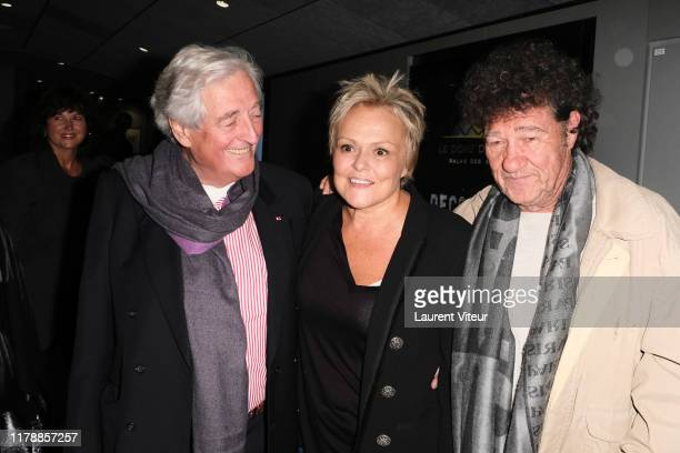 JeanLoup Dabadie Muriel Robin and Robert Charlebois attend the Et Pof Muriel Robin One Woman Show At Palais Des Sports on October 03 2019 in Paris...
