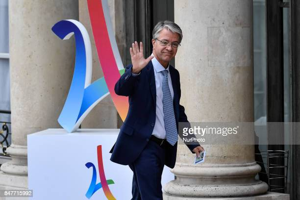 Jeanlourent Bonnafe leaves the Elysee Palace in Paris after a ceremony to celebrate Paris' coronation as host of the 2024 Olympics Games on September...