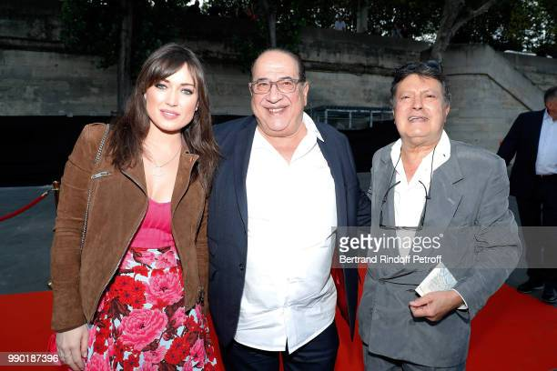 JeanLuc Azoulay his wife Isabelle Bouysse and guest attend Line Renaud's 90th Anniversary on July 2 2018 in Paris France