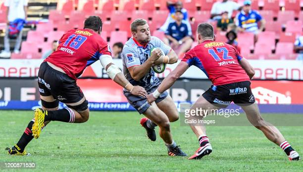 Jean-Luc du Plessis of the Stormers with possession during the Super Rugby match between Emirates Lions and DHL Stormers at Emirates Airline Park on...