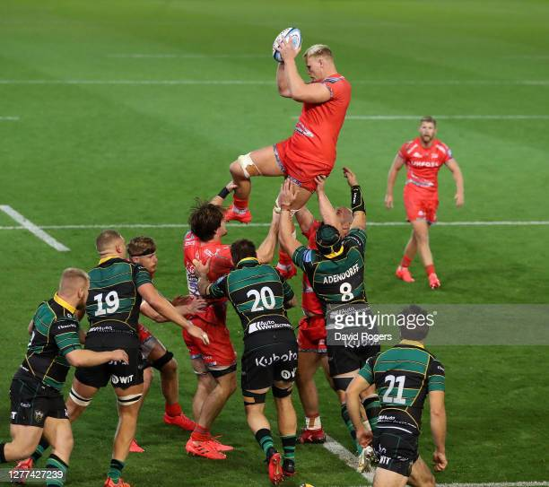 JeanLuc du Preez of Sale Sharks wins the lineout ball during the Gallagher Premiership Rugby match between Northampton Saints and Sale Sharks at...