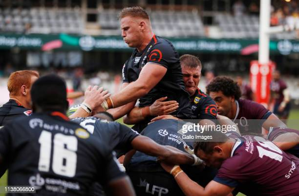 Jean-Luc du Preez of the Cell C Sharks during the Super Rugby match between Cell C Sharks and Reds at Jonsson Kings Park Stadium on April 19, 2019 in...