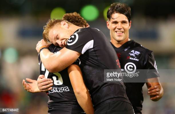 JeanLuc Du Preez of the Sharks celebrates with team mates after winning the round two Super Rugby match between the Brumbies and the Sharks at GIO...