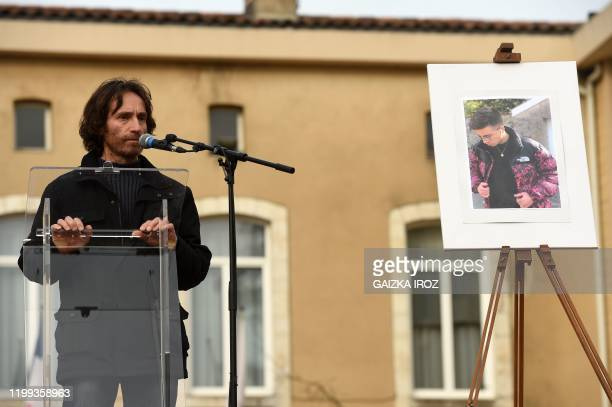 Jean-Luc Faget, father of Victor, delivers a speech at the city hall of Dax, southern France, on January 8 during a ceremony in tribute to his son...