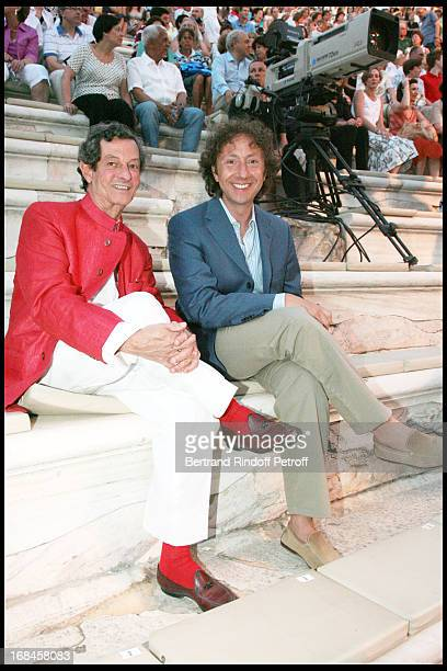 JeanLuc Gauzere and Stephane Bern at Nana Mouskouri's Farewell Concert At Odeon Herodes Atticus In Athens