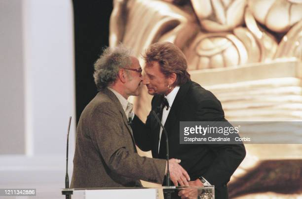 Jean-Luc Godard à la 23ème Cérémonie des Césars à Paris en présence de Johnny Hallyday
