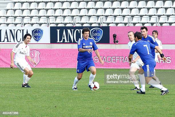 JeanLuc Lahaye Patrick Bruel Olivier Panis and Michael Youn play the Football match for the benefit of the association 'Plus fort la vie' at Stade...