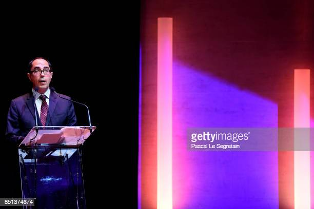 JeanLuc Martinez PresidentDirector of Musee du Louvre and Chairman of the Scientific Council of Agence FranceMuseums delivers a speech during the...