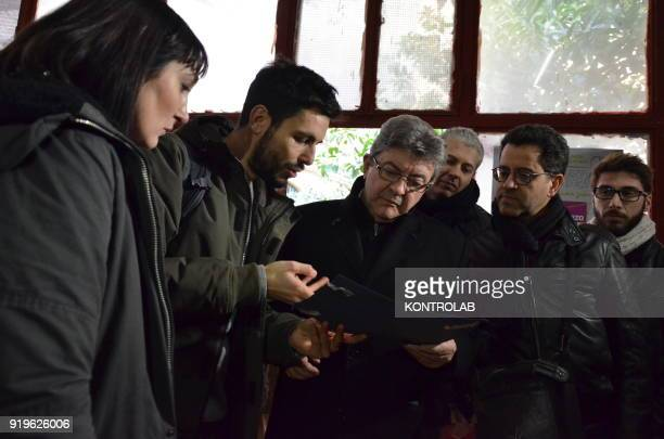 JeanLuc Melenchon leader of France Insoumise before the press conference organized by italian leftist party Potere al Popolo talk to some guys at...
